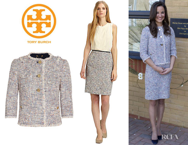 Pippa Middleton's Tory Burch 'Emma' Tweed Jacket And Tory Burch 'Emma' Tweed Skirt