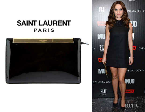 Reese Witherspoon's Saint Laurent 'Lutetia' Patent Leather Clutch1