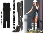 Rihanna's Givenchy Sleeveless Tail Back Top & Alexander Wang Marta Knee High Boots