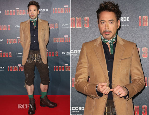 Robert Downey Jr In German Lederhosen - 'Iron Man 3' Munich Photocall