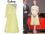 Rosamund Pike's Erdem Amina Printed Silk and Organza One-Shoulder Dress