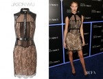 Rosie Huntington-Whiteley's Jason Wu Panelled Lace and Leather Dress with Belt