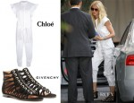 Gwyneth Paltrow's Chloé Jumpsuit & Givenchy Gladiators