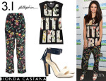 Selena Gomez' 3.1 Phillip Lim 'Get It Girl' Top, 3.1 Phillip Lim Botanical Print Pants And Bionda Castana 'Elisabetta' Sandals