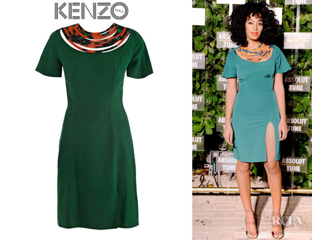 Solange Knowles' Kenzo Contrast Necklace-Detail Dress