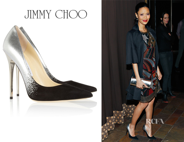 Thandie Newton's Jimmy Choo Anouk Degradé Metallic Leather and Suede Pumps
