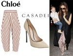 Victoria Beckham's Chloé Tapered Cotton Pants And Casadei Piped Pumps