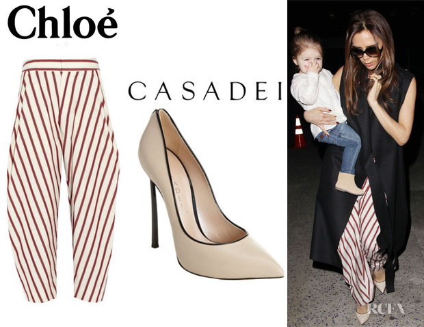 d546e177e50 Victoria Beckham s Chloé Tapered Cotton Pants And Casadei Piped Pumps