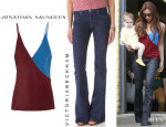 Victoria Beckham's Jonathan Saunders 'Ginger' Camisole And Victoria Beckham Flared Jeans