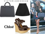 Victoria Beckham's Victoria Beckham A-Line Mini Skirt, Chloé Leather And Wooden Wedges And Victoria Beckham 'Victoria' Tote