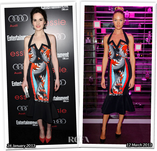 Who Wore Peter Pilotto Better Michelle Dockery Candice Swanepoel