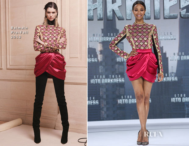 Zoe Saldana In Balmain - 'Star Trek Into Darkness' Berlin Premiere