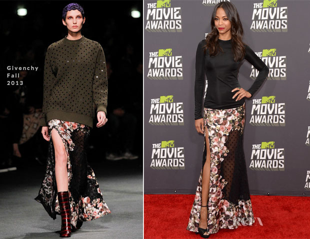 Zoe Saldana In Givenchy - 2013 MTV Movie Awards