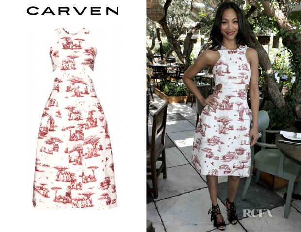 Zoe Saldana's Carven Safari Print Cut-Out Dress