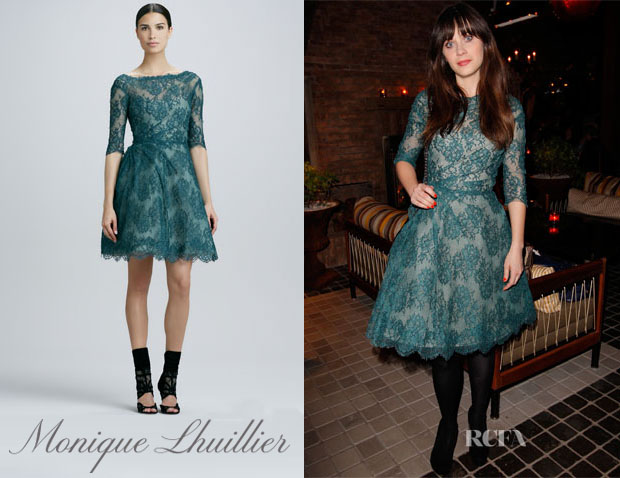 Zooey-Deschanel-In-Monique-Lhuillier Ruched Lace Dress