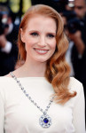 Jessica Chastain in Versace Collection and sapphire sautoir from the Elizabeth Taylor Bulgari collection