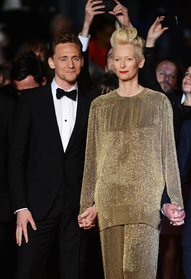 Tom Hiddleston in Alexander McQueen and Tilda Swinton in Haider Ackermann