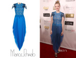 Amanda Seyfried's Marios Schwab Blue Lace Pleated Dress