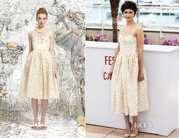 Audrey Tautou In REDValentino - Cannes Film Festival Photocall 2013