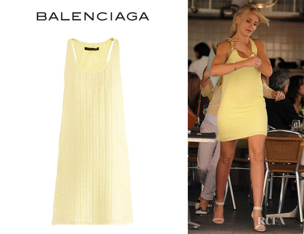Cameron Diaz' Balenciaga Square Jacquard Silk Dress