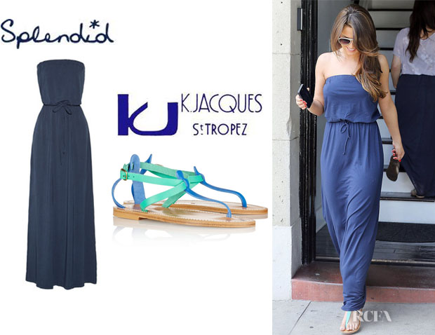 Cheryl Cole's Splendid Strapless Stretch Jersey Maxi Dress And K Jacques St Tropez 'Buffon' Leather Sandals