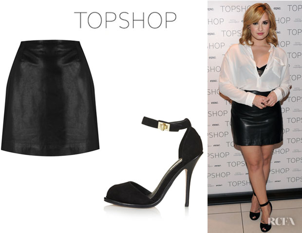 Demi Lovato's Topshop Leather Skirt By Boutique And Topshop 'Raquel' Twistlock Sandals
