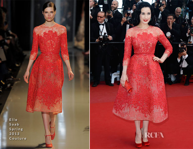 Dita von Teese In Elie Saab Couture -  'Cleopatra' Cannes Film Festival Premiere