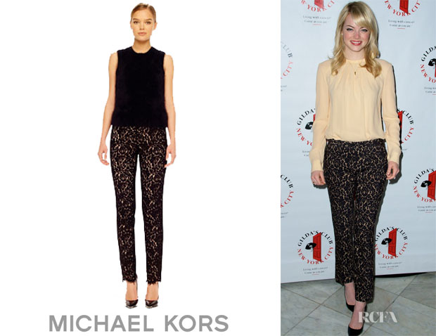 Emma Stone's Michael Kors Fitted Lace Pants1