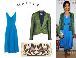 Freida Pinto's Maiyet Midi Dress, Maiyet Brocade Tux Jacket And Maiyet 'Ayla' Clutch