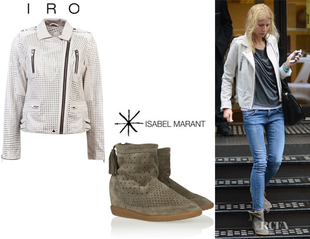 Gwyneth Paltrow's IRO 'Caelie' Jacket And Isabel Marant 'Basley' Wedge Ankle Boots