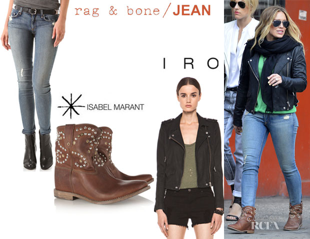 Hilary Duff's IRO 'Ashville' Leather Jacket, Rag & BoneJEAN Skinny Jeans And Isabel Marant 'Caleen' Studded Boots