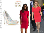 Hilary Duff's Torn By Ronny Kobo 'Candy' Mini Dress And Stella McCartney 'Holographic' Faux Leather Pumps