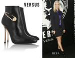 Jaime King's Versus Safety Pin-Embellished Leather Ankle Boots