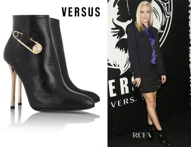 Jaime Kings' Versus Safety Pin-Embellished Leather Ankle Boots