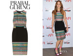 Jennifer Lawrence's Prabal Gurung Wool-Blend Crepe and Metallic Tweed Sheath Dress