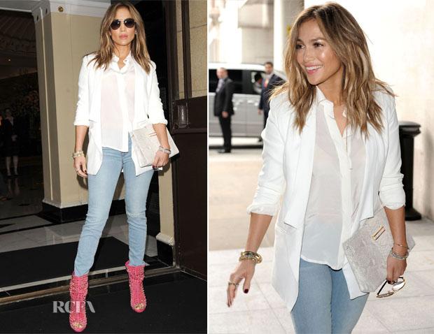 Jennifer Lopez In J Brand - Dorchester Hotel