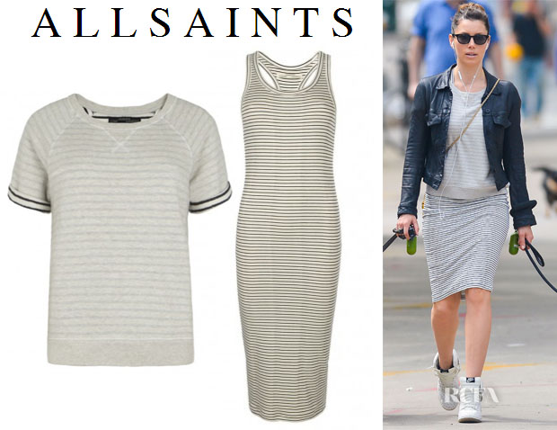 Jessica Biel's AllSaints Lira Sweat T-shirt & Colby Tank Dress