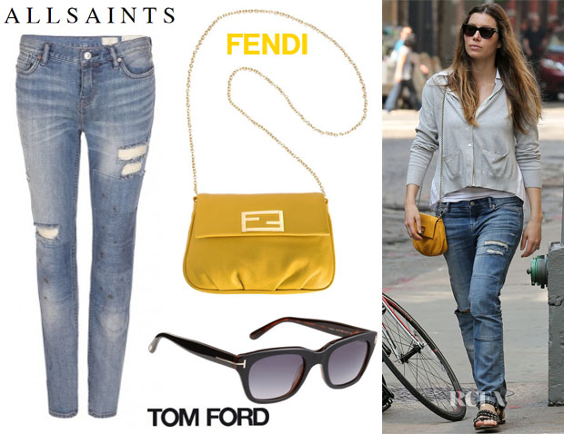 Jessica Biel's AllSaints Patch Casey Jeans, Fendi Mini Mia Pouchette & Tom Ford Sunglasses