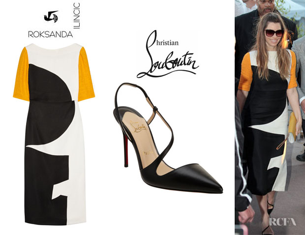 Jessica Biel's Roksanda Ilincic 'Brandt' Dress And Christian Louboutin 'June' Sandals