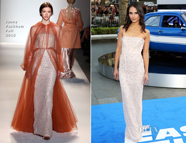Jordana Brewster In Jenny Packham - 'Fast And Furious 6' World Premiere