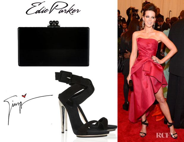 Kate Beckinsale's Giuseppe Zanotti Metal Heel Suede Sandals And Edie Parker 'Jean Ribbon' Clutch