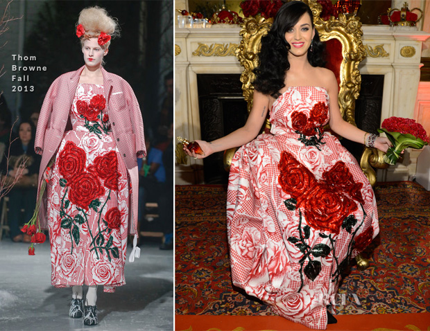 Katy Perry In Thom Browne - 'Killer Queen' Fragrance Launch