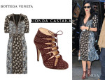 Katy Perry's Bottega Veneta Printed Silk Dress And Bionda Castana Cage Sandals