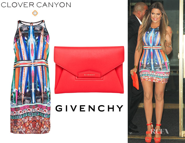 ca79d4430f4 Khloe Kardashian s Clover Canyon Long Board Neoprene Print Dress   Givenchy  Antigona Envelope Clutch