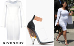Kim Kardashian's Givenchy Open Sleeve Dress & Givenchy Albertina Podium Heels