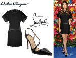 Lily Aldridge's Salvatore Ferragamo Embroidered Quilt And Leather Dress And Christian Louboutin 'June' Sandals