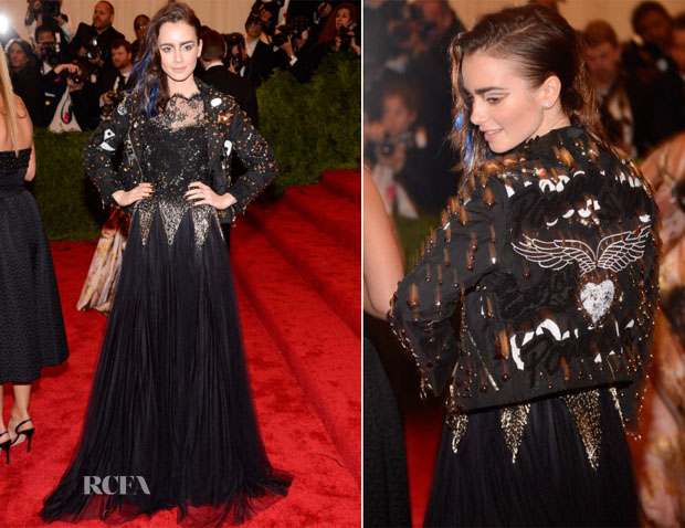 Lily Collins In Moschino - 2013 Met Gala