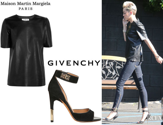 Miley Cyrus' Maison Martin Margiela Leather Top And Givenchy Suede Ankle Strap Sandals
