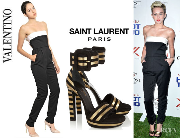 Miley Cyrus' Valentino Strapless Bow Back Silk Jumpsuit And Saint Laurent Sandals