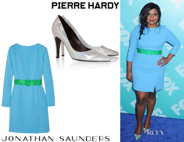 Mindy Kaling's Jonathan Saunders 'Karla' Belted Dress And Pierre Hardy Holographic Pumps